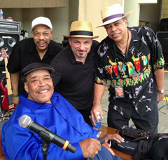 JAMES COTTON, JOHN PRIMER, MATTHEW SKOLLER AND BILLY BRANCH AT SOUNDCHECK FOR THE 30TH ANNUAL CHICAGO BLUES FESTIVAL. MATTHEW PRODUCED THE SHOW: CHICAGO BLUES: OLD SCHOOL, NEW MILLENNIUM. (JUNE 2013)