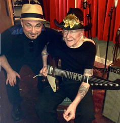 MATTHEW AND JOHNNY WINTER AT JOYRIDE STUDIO IN CHICAGO. RECORDING JOHNNY'S TRACK FOR THE NEWEST RAISIN' MUSIC PRODUCTION OF JOHN PRIMER'S TRIBUTE TO MUDDY WATERS, TO BE RELEASED IN 2015. SADLY JOHNNY PASSED AWAY 4 DAYS AFTER THIS PHOTO WAS TAKEN. RIP.  (JUNE 12TH 2014)