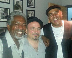 DONALD KINSEY, MATTHEW, RONNIE BAKER BROOKS AT BUDDY GUY'S LEGENDS. IN THE GREEN ROOM DURING THE 2013 BLUES BLAST AWARDS.  (SEPTEMBER 2013)